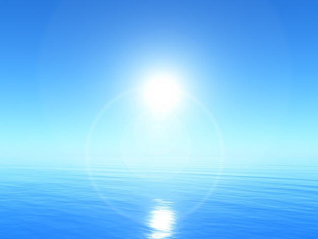 3d paisagem do oceano tranquilo, com céu azul brilhante