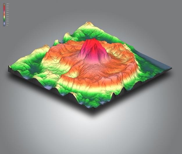 3d paisagem isométrica do terreno de um vulcão
