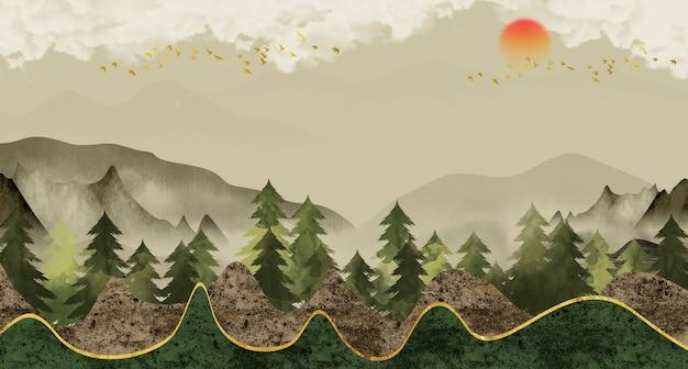 3d paisagem papel de parede mural montanhas árvores de natal céu pássaros e sol em fundo claro