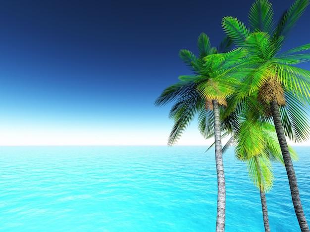 3d paisagem tropical com palmeiras e oceano azul