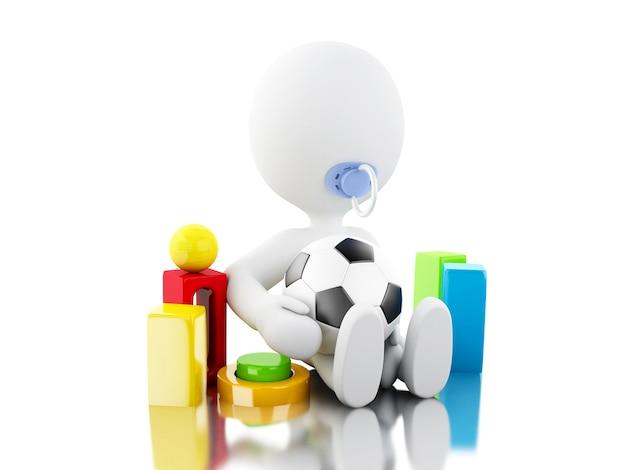 3d personagem recém-nascido whit paicifier e brinquedos