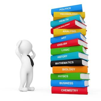 3d pessoa estressada perto de pilha de livros escolares coloridos em um fundo branco. renderização 3d
