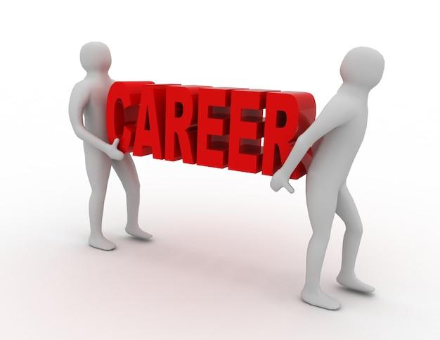 3d pessoas carregam palavra carreira