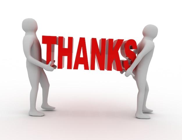 3d pessoas carregam palavras de agradecimento