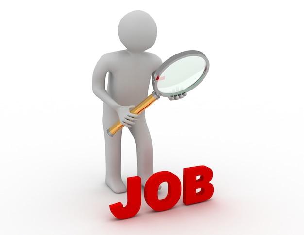 3d pessoas - homem, pessoa com lupa à procura de emprego.