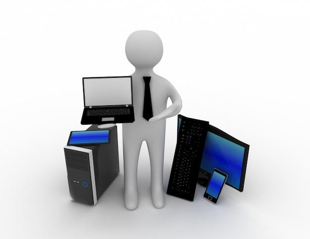 3d pessoas - homem, pessoa com um laptop