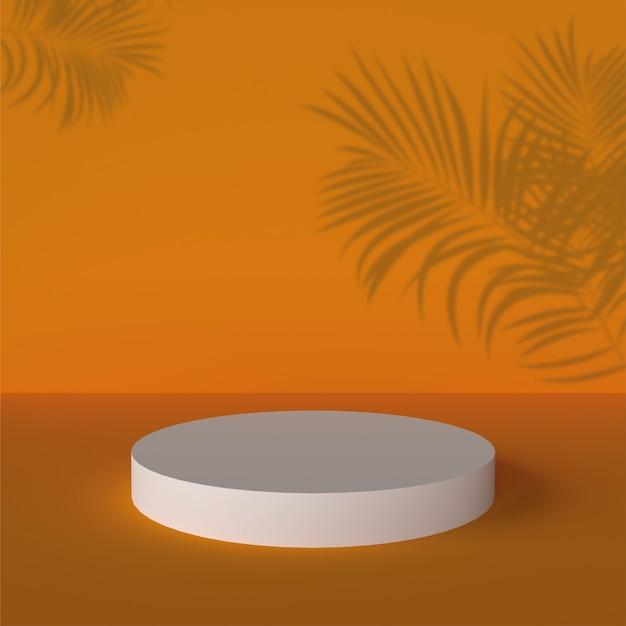 3d pódio backgraund pano de fundo laranja renderização realista pano de fundo plataforma estúdio suporte de luz