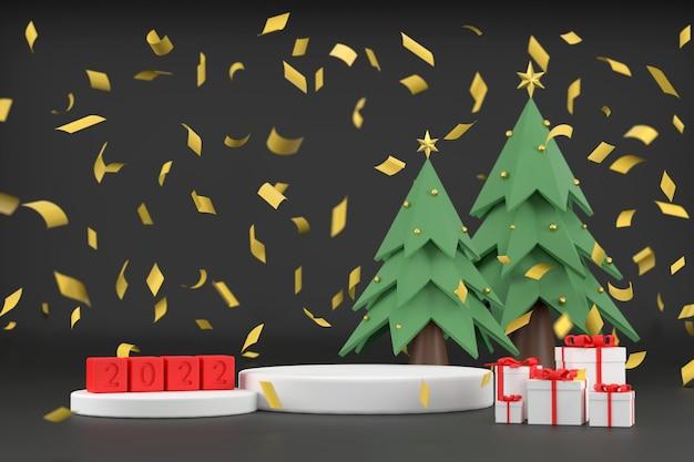 3d. pódio branco para exposição de produtos 2020 e árvores de natal. com caixa de presente