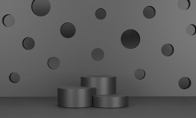 3d. pódio circular monocromático e pano de fundo perfurado usado para exibir produtos