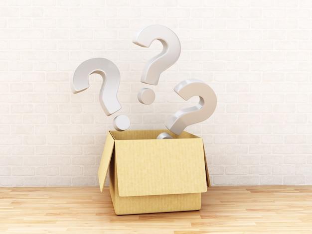 3d ponto de interrogação em uma caixa aberta.