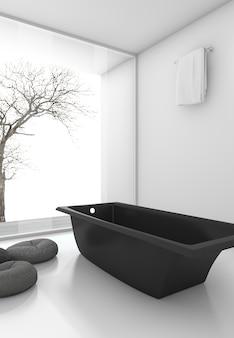 3d que rende a banheira preta mínima perto da janela no inverno