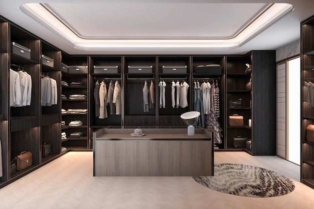 3d que rende a caminhada escandinava mínima da madeira no armário com wardrobe