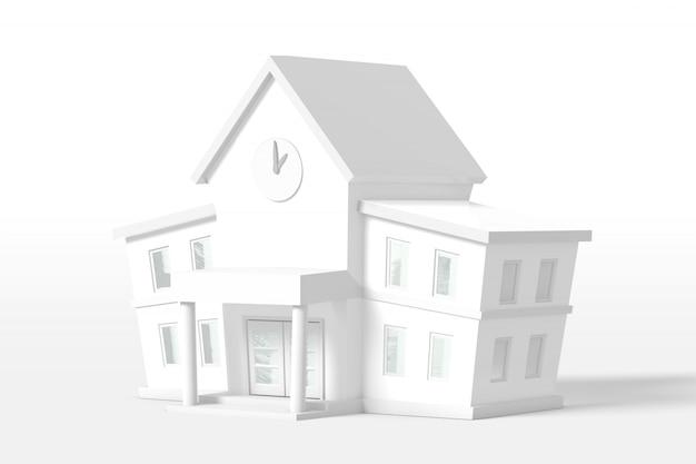 3d que rende a casa de dois andares da cor branca isolada em um fundo branco. estilo minimalista de desenho animado.