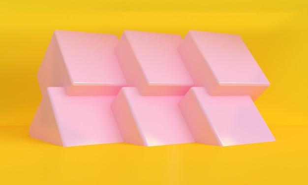 3d que rende a cena amarela mínima da parede do pódio cor-de-rosa da caixa.