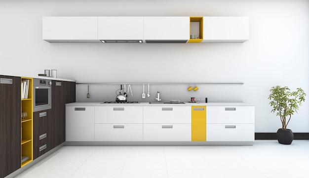 3d que rende a cozinha amarela mínima e moderna com o forno na sala branca