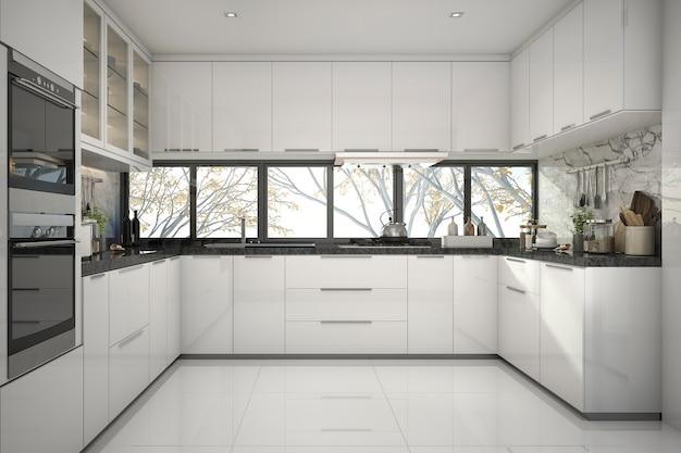 3d que rende a cozinha branca moderna bonita com decoração de mármore