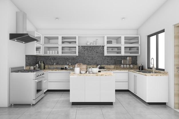 3d que rende a cozinha moderna agradável do branco e do mosaico