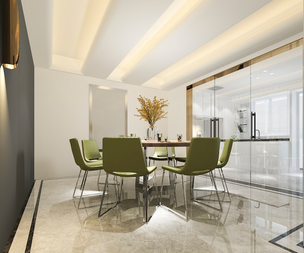 3d que rende a cozinha moderna bonita com zona de jantar