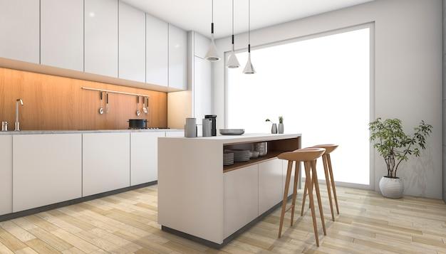 3d que rende a cozinha moderna branca com barra de madeira