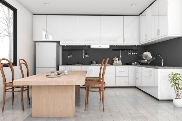 3d que rende a cozinha moderna preto e branco perto da janela
