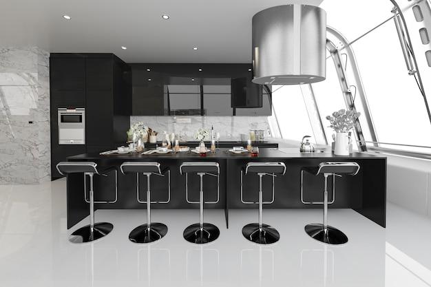 3d que rende a cozinha preta moderna com a madeira moderna construída dentro