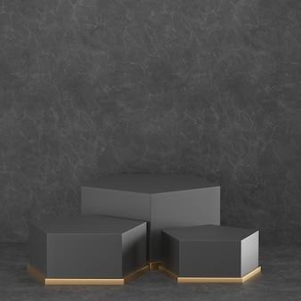 3d que rende a geometria preta do pódio com elementos do ouro.