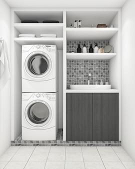 3d que rende a lavanderia branca moderna bonita com decoração