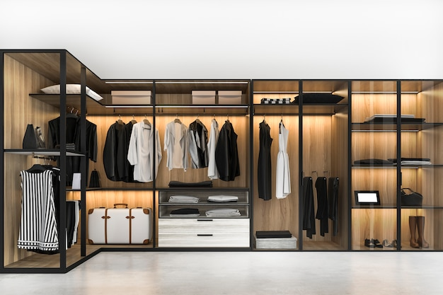 3d que rende a madeira branca escandinava moderna anda no armário com o vestuário perto da janela
