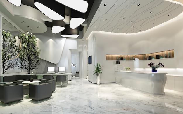3d que rende a recepção e o lounge modernos do hotel de luxo