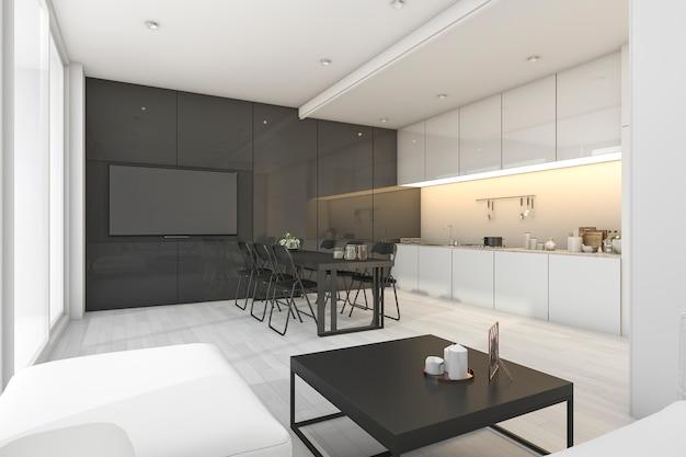 3d que rende a sala de estar branca e preta moderna com cozinha