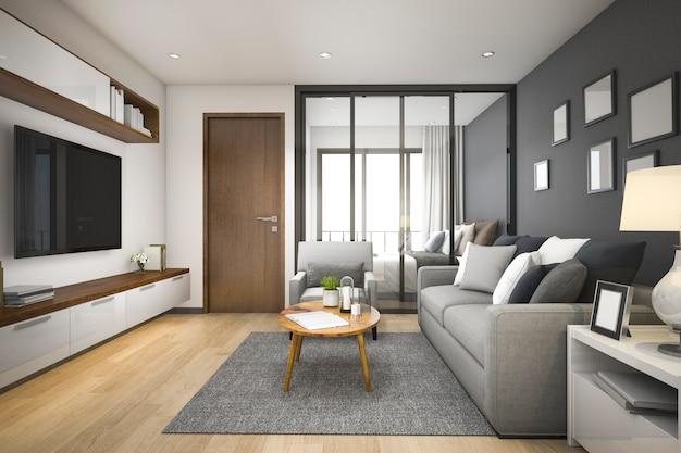 3d que rende a sala de estar e o quarto de madeira mínimos modernos no apartamento