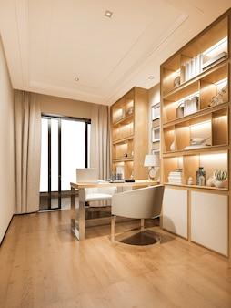 3d que rende a sala de trabalho luxuosa de madeira moderna