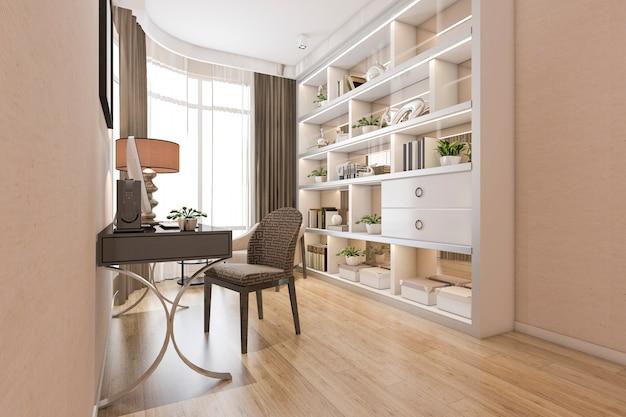 3d que rende a sala de trabalho mínima de madeira moderna