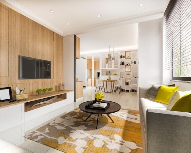 3d que rende a sala de visitas moderna amarela mínima com parede de madeira da tevê
