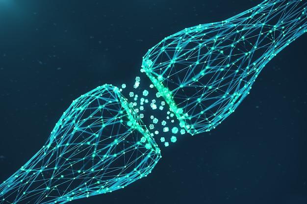 3d que rende a sinapse de incandescência azul. neurônio artificial no conceito de inteligência artificial. linhas de transmissão sináptica de pulsos. espaço poligonal abstrato baixo poli com pontos e linhas de conexão