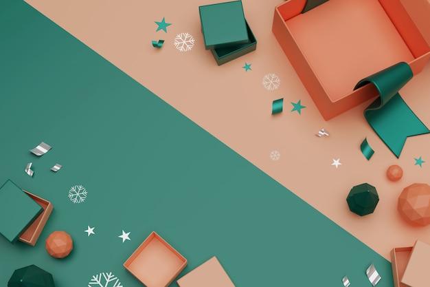 3d que rende caixas de presente unboxing. abra a caixa de presente vazia e acessórios, conceito de compras on-line.