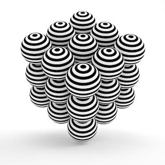3d que rende esferas listradas preto e branco