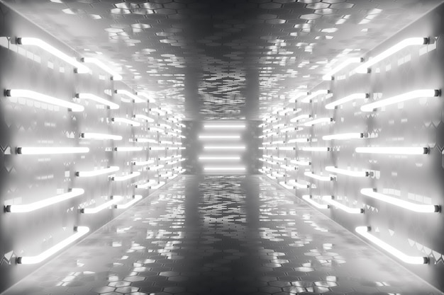 3d que rende o corredor escuro futurista do abstrac com luzes de néon. luz brilhante. fundo de arquitetura futurista