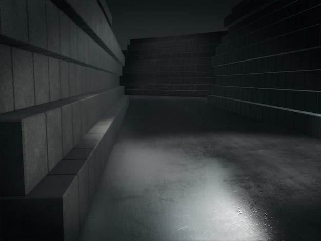 3d que rende o corredor escuro longo