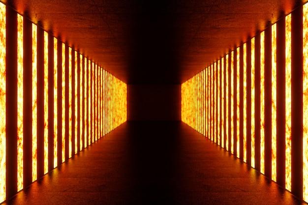3d que rende o corredor iluminado escuro da luz de néon vermelha. luz de néon futurista elegante na parede.