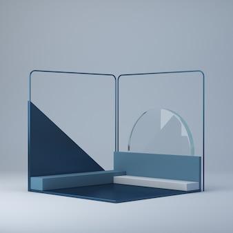 3d que rende o fundo abstrato com pódio de canto. plataformas para mostrar um produto.