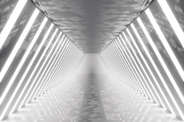 3d que rende o interior abstrato da sala com luzes de néon. arquitetura futurista. mock-up para seu projeto de design