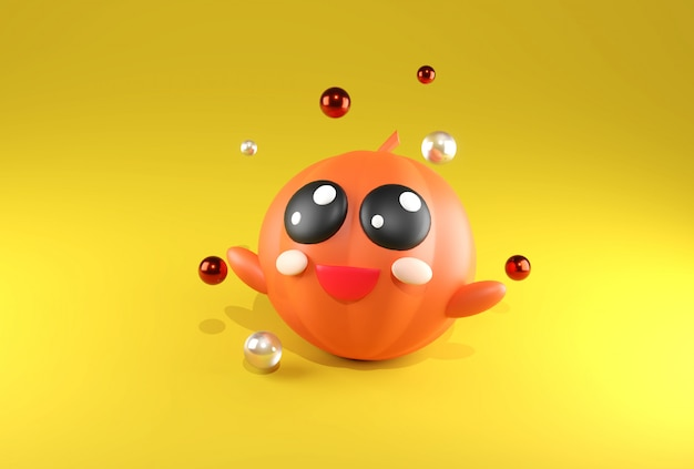 3d que rende o kawaii bonito alaranjado da abóbora no tema amarelo de halloween do fundo.