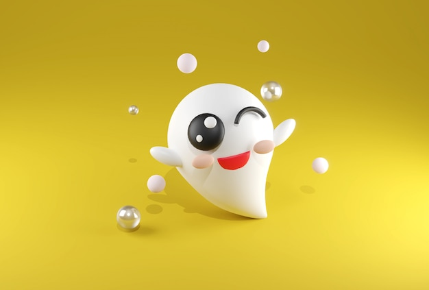 3d que rende o kawaii bonito branco do fantasma no tema amarelo de halloween do fundo.