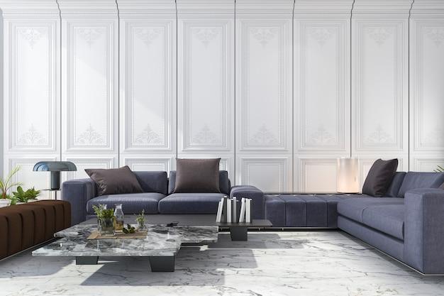 3d que rende o sofá azul e marrom ajustou-se no quarto branco luxuoso clássico