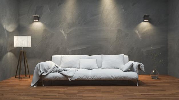 3d que rende o sofá longo agradável na sala mínima do estúdio