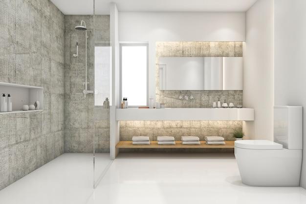 3d que rende o sotão moderno e o banheiro luxuoso