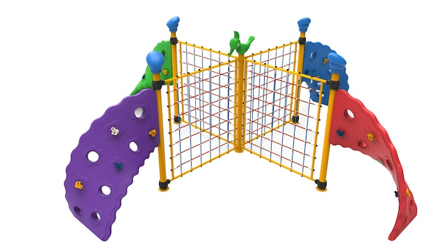 3d realista playground park quádruplo equipamento de escalada para crianças isoladas no fundo branco