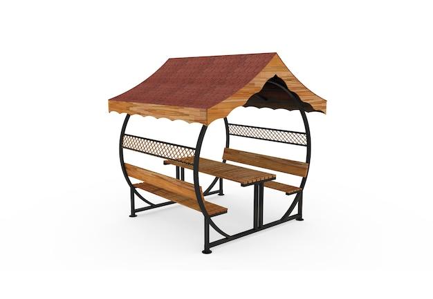 3d realista um banco de jardim com telhado de madeira redondo camélia no fundo branco