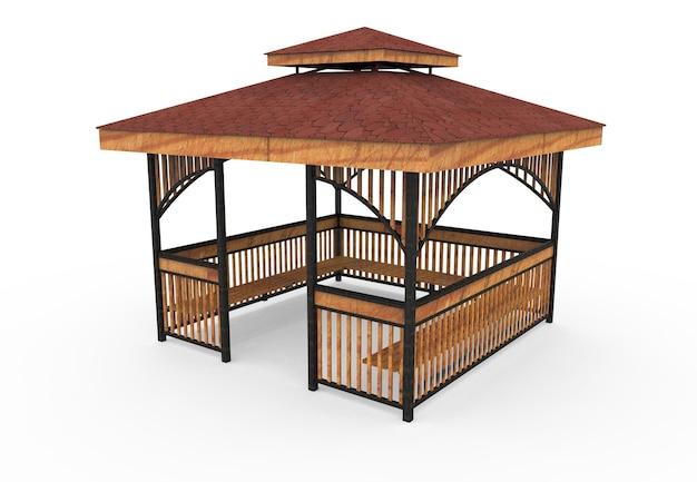 3d realista um jardim coberto de madeira banco quadrado camélia no fundo branco